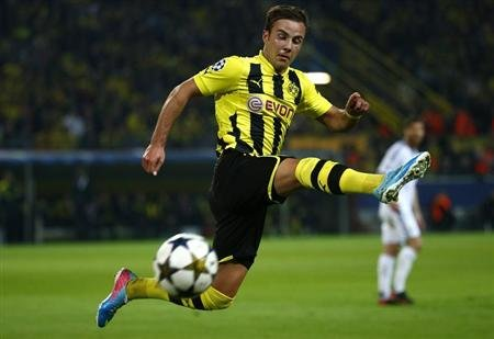 Borussia Dortmund Goetze runs for the ball during Champions League semi-final first leg soccer match against Real Madrid in Dortmund