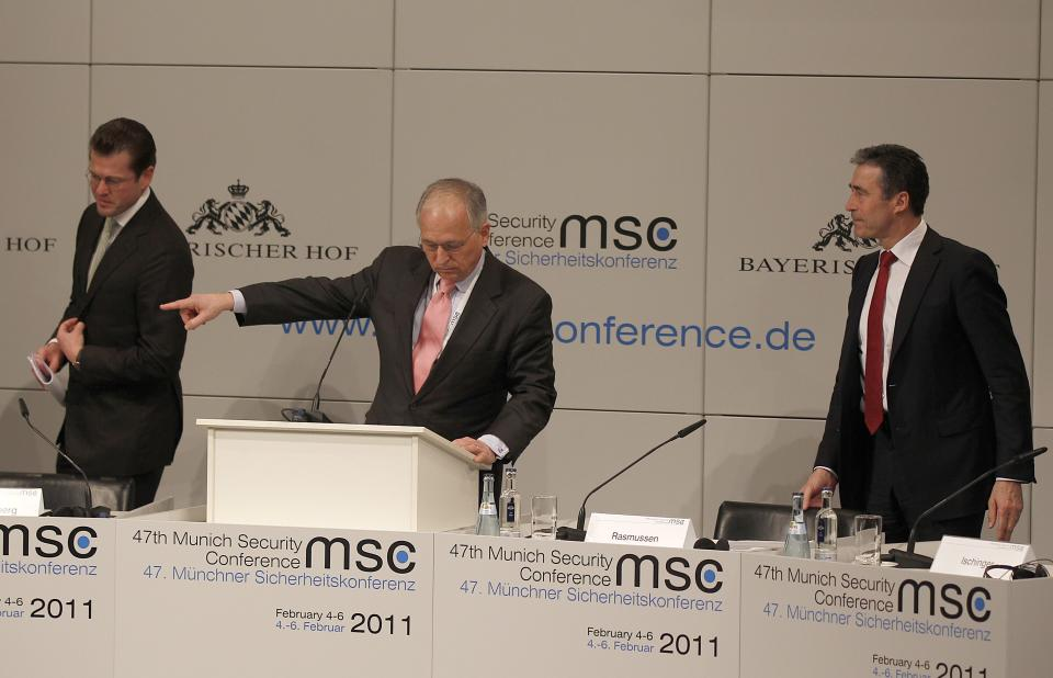 German Defense Minister Karl-Theodor zu Guttenberg, left, Munich Security Conference Chairman Wolfgang Ischinger, center, and NATO Secretary General Anders Fogh Rasmussen attend the opening of the Conference on Security Policy in Munich, Germany, Friday, Feb. 4, 2011.   (AP Photo/Frank Augstein)