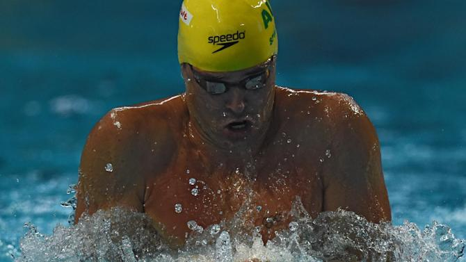 Australia's Christian Sprenger competes in the preliminary heats of the men's 100m breaststroke swimming event at the 2015 FINA World Championships in Kazan on August 2, 2015