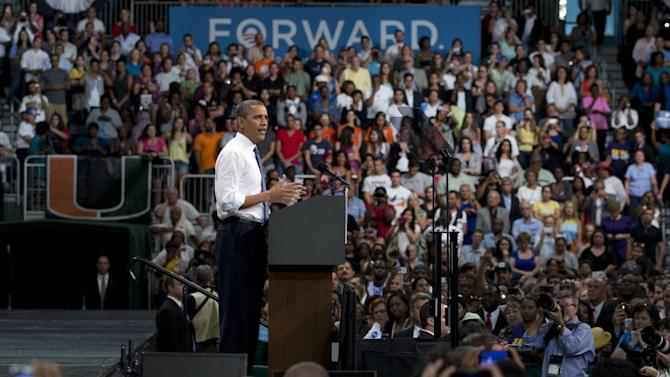 President Barack Obama speaks at a campaign event at the University of Miami, Thursday, Oct. 11, 2012, in Coral Gables, Fla. (AP Photo/Carolyn Kaster)