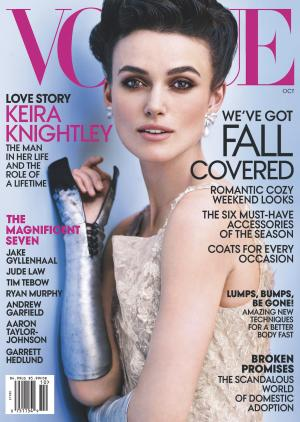"""This cover image released by Vogue shows actress Keira Knightley on the cover of the October issue of """"Vogue."""" The October issue of Vogue goes on sale nationwide Sept. 25. (AP Photo/Vogue)"""