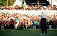 Martin Kaymer of Germany raises his hands in victory after sinking his putt on the 18th green to retain the Ryder Cup for the Europeans during the Singles Matches on the final day of play for the 39th Ryder Cup at Medinah Country Golf Club in Medinah, Illinois. Europe produced the greatest comeback in Ryder Cup history to reel in the United States and retain the trophy