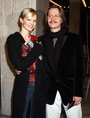 Gary Oldman and wife Donya at the LA premiere of Columbia's Panic Room