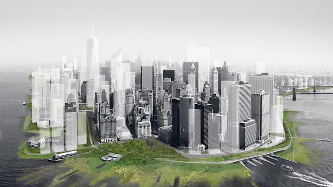 This artist's rendering provided by DLANDSTUDIO and Architecture Research Office shows a proposed perimeter wetlands and an archipelago of man-made barrier islets on New York's Manhattan island, designed to absorb the brunt of a huge storm surge. The concept was worked up by DLANDSTUDIO and Architecture Research Office, two city architectural firms, for a museum project. (AP Photo/DLANDSTUDIO and Architecture Research Office)