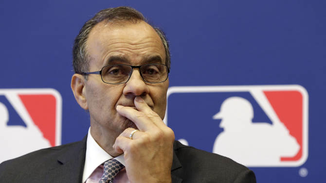 Major League Baseball executive vice president Joe Torre listens to a question during a news conference at MLB headquarters, in New York,  Thursday, May 16, 2013. Major League Baseball hopes to expand video review by umpires for the 2014 season and says all calls other than balls and strikes could be subject to instant replay. Torre hopes to have proposals by the August owners' meeting. (AP Photo/Richard Drew)