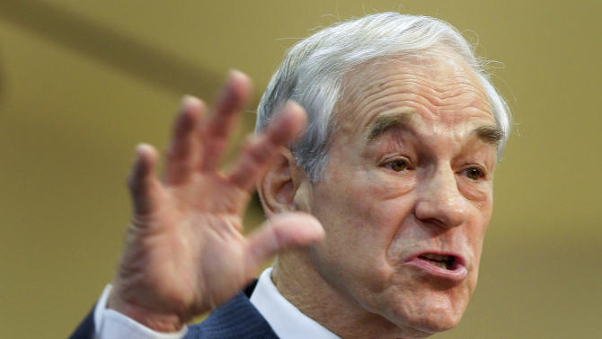 Republican presidential candidate, Rep. Ron Paul, R-Texas speaks to members of the group Hispanics in Politics, Wednesday, Feb. 1, 2012, in Las Vegas.  (AP Photo/Julie Jacobson)