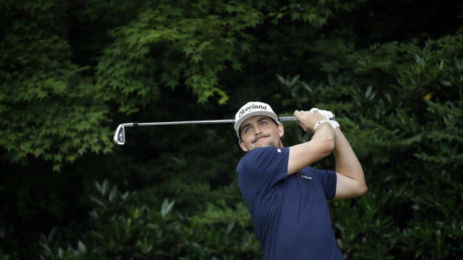 Keegan Bradley watches his tee shot on the 11th hole during the first round of the U.S. Open golf tournament at Merion Golf Club, Thursday, June 13, 2013, in Ardmore, Pa. (AP Photo/Morry Gash)