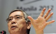 Haruhiko Kuroda, president of Asian Development Bank (ADB) speaks during a press conference in Manila on May 2, 2012. Kuroda on Friday played down speculation that he was set to become the next Bank of Japan chief, insisting he was happy with his current position