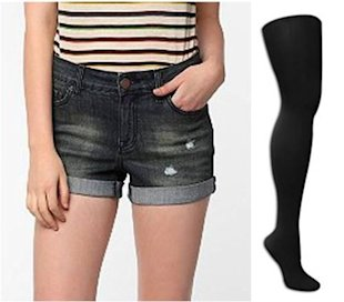 Add Tights to Summery Shorts