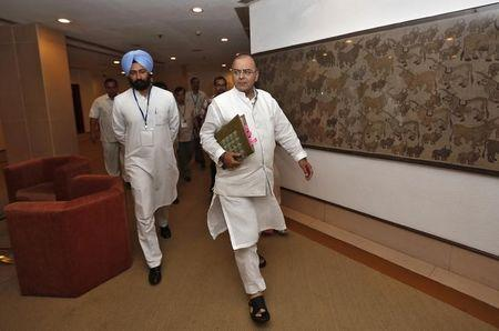India's Finance and DM Jaitley arrives to attend a meeting with the finance ministers of Indian states on GST issues in New Delhi
