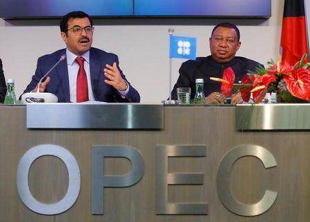 OPEC President Qatar's Energy Minister al-Sada and OPEC Secretary General Barkindo address a news conference after an OPEC meeting in Vienna