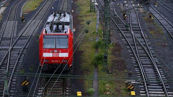 A locomotive stands on a track during a nationwide strike by Germany's train driver's union GDL at Frankfurt train station
