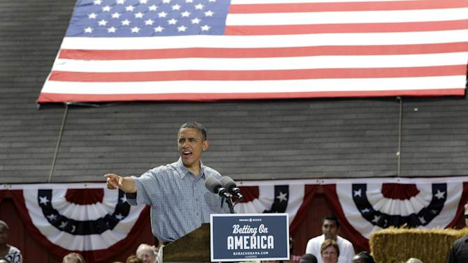 President Barack Obama speaks at the Wolcott House Museum in Maumee, Ohio, Thursday, July 5, 2012. (AP Photo/Carlos Osorio)
