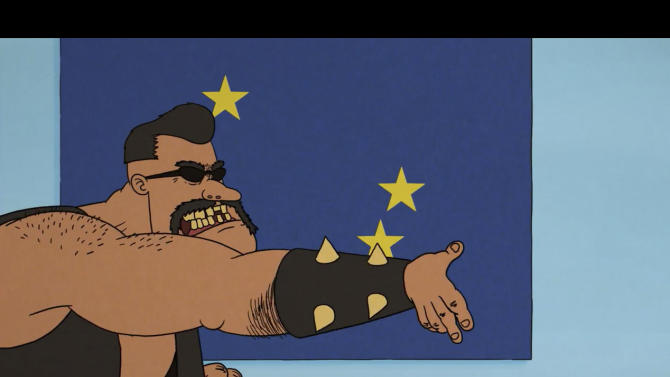 Image taken from the Video 'Voteman', published by the Danish Parliament on Youtube, Tuesday May 13. 2014. Denmark has retracted a controversial animated cartoon containing sex and violence that was intended to inspire young voters to participate in the upcoming European Parliament elections. The subtitle says 'Don't try to escape. '(AP Photo/POLFOTO, Danish Parliament) DENMARK OUT