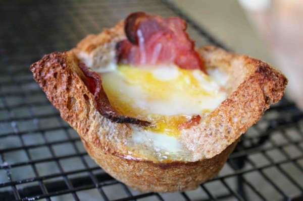 Bacon, Egg, and Cheese Toast Cups