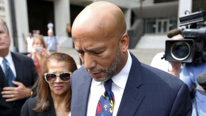 Former New Orleans Mayor C. Ray Nagin leaves court after being sentenced to 10 years in New Orleans, Louisiana