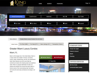 King of Condos Miami Web Site - Provides Buyers and Sellers with information on the local condo market, sales comps, property history, and more. The K...
