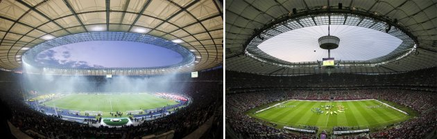File photos (L) of the Olympic stadium during the German DFB Cup (DFB Pokal) final soccer match between Borussia Dortmund and Bayern Munich in Berlin May 12, 2012, and (R) the National stadium before the start of the Group A Euro 2012 soccer match between Greece and Russia in Warsaw, June 16, 2012. Berlin will stage the Champions League final for the first time in 2015 and Warsaw will be the venue for the Europa League final, UEFA said May 23, 2013. REUTERS/Staff/Files (GERMANY/POLAND) (SPORT SOCCER)