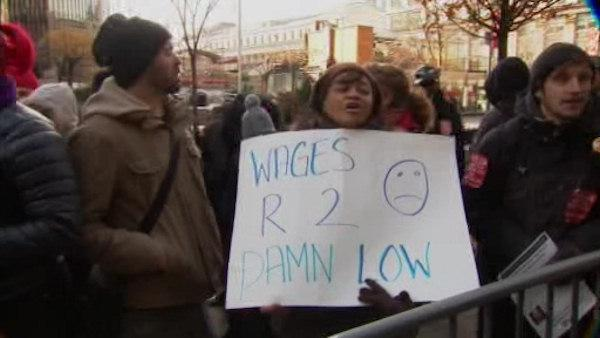 Low wage protesters demand more money