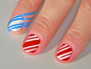 Using tape to create stripes.