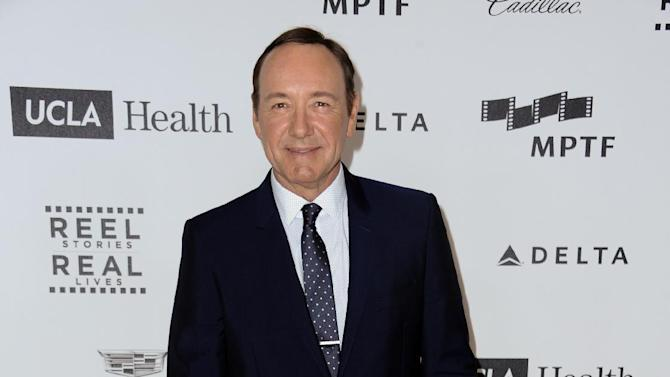 Kevin Spacey arrives at the 4th Annual Reel Stories, Real Lives Benefit held at Milk Studios on Saturday, April 25, 2015, in Los Angeles (Photo by Richard Shotwell/Invision/AP)