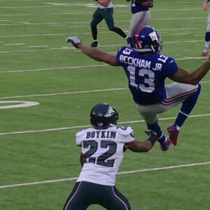 New York Giants wide receiver Odell Beckham high-points, hauls in great catch