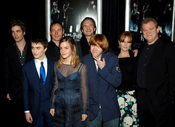 Premiere: Robert Pattinson, Daniel Radcliffe, Jason Isaacs, Emma Watson, Ralph Fiennes, Rupert Grint, Miranda Richardson and Brendan Gleeson at the NY premiere of Warner Bros. Pictures' Harry Potter a