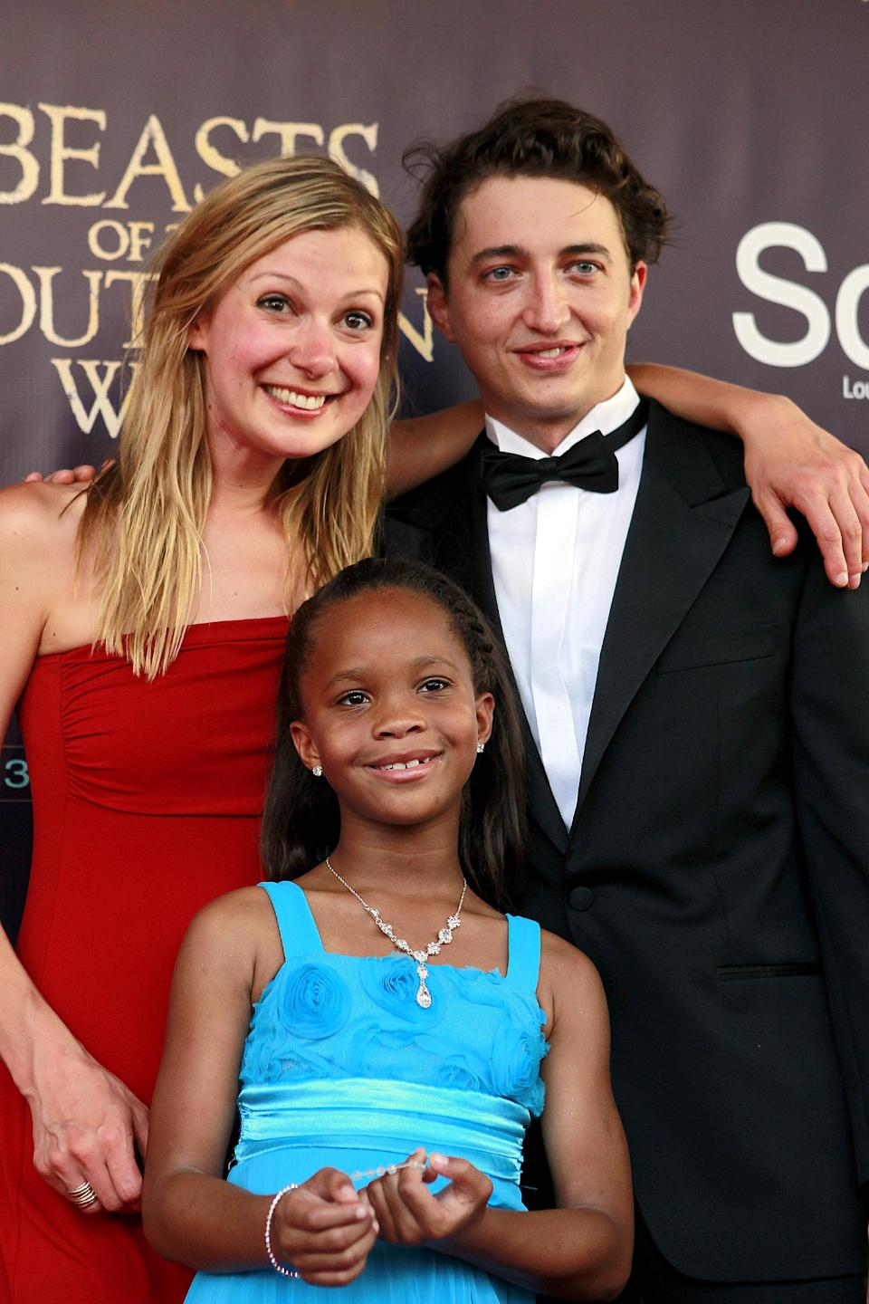 "Benh Zeitlin, right, Lucy Alibar, left, and QuvenzhanÈ Wallis arrive at the movie premiere of ""Beasts Of The Southern Wild"" at the Joy Theater in New Orleans, Monday, June 25, 2012. (AP Photo/Gerald Herbert)"