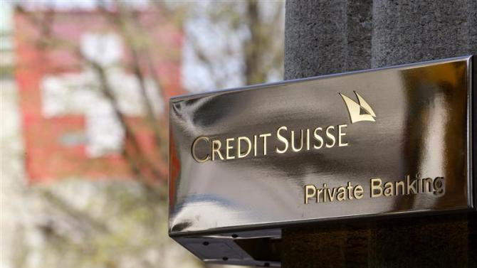 The logo of Swiss bank Credit Suisse in seen in front of an office building in Zurich