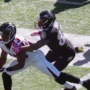 Baltimore Ravens quarterback Joe Flacco intercepted by Atlanta Falcons cornerback Robert Alford