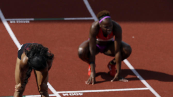 Sanya Richards-Ross reacts after the women's 400m finals at the U.S. Olympic Track and Field Trials Sunday, June 24, 2012, in Eugene, Ore. (AP Photo/Charlie Riedel)