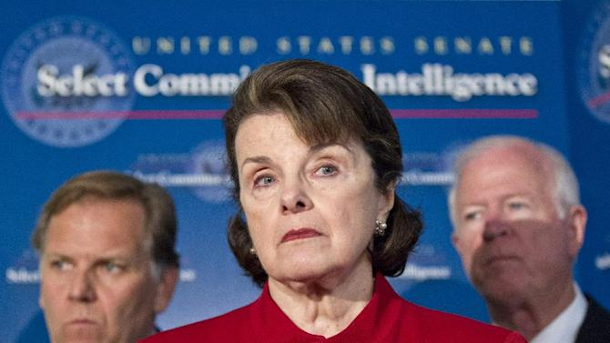Senate Intelligence Committee Chair Sen. Dianne Feinstein, D-Calif., center, flanked by Sen. Saxby Chambliss, R-Ga., vice-chair of the committee at right, and, House Intelligence Committee Chairman Rep. Mike Rogers, R-Mich., meets with reporters on Capitol Hill in Washington, Thursday, June 7, 2012, following a closed-door meeting with Director of National Intelligence James Clapper on national security leaks. (AP Photo/J. Scott Applewhite)