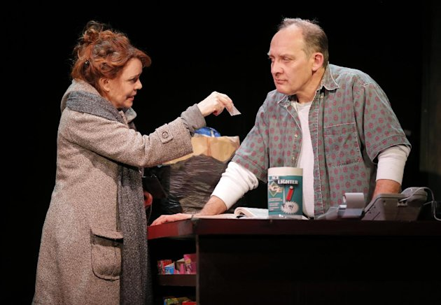 "This theater image released Spin Cycle shows Deirde O'Connell, left, and Zach Grenier during a performance of ""The Vandal,"" at the Flea Theatre in New York. (AP Photo/Spin Cycle, Joan Marcus)"