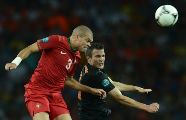 Portuguese Defender Pepe (L) Vies AFP/Getty Images