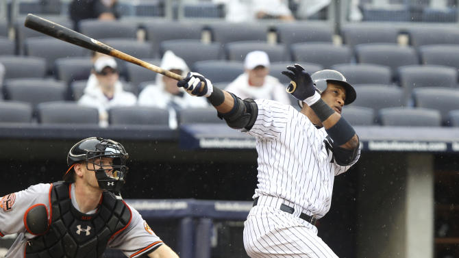 New York Yankees' Robinson Cano hits a grand slam during the third inning of the baseball game against the Baltimore Orioles Wednesday, Aug. 1, 2012 at Yankee Stadium in New York. (AP Photo/Seth Wenig)
