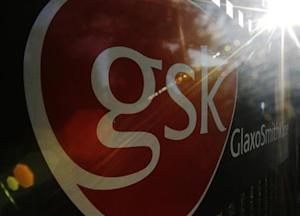 The signage for the GlaxoSmithKline building is pictured in London