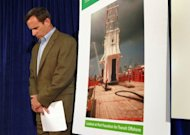 Doug Suttles, BP's Chief Operating Officer, waits to speak to the media on the continuing efforts to stop the massive oil spill in the Gulf of Mexico, in May 2010, in Robert, Louisiana