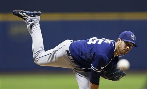 Maldonado hits grand slam, Brewers beat Padres 4-3