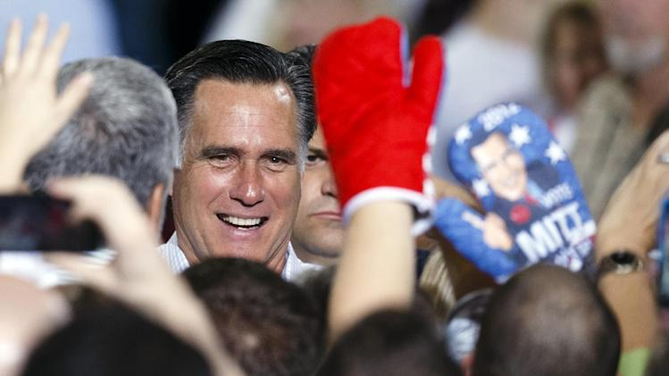 Republican presidential candidate former Massachusetts Gov. Mitt Romney greets supporters after a speech at The Seagate Center in Toledo, Ohio, Wednesday, Sept. 25, 2012, during a campaign stop. (AP Photo/Rick Osentoski)
