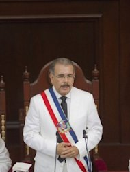 <p>Dominican Republic's president Danilo Medina delivers a speech during his inauguration at the National Congress in Santo Domingo. The Dominican Republic's high cost of living, unemployment, corruption and a soaring crime rate were among the top issues in the election.</p>