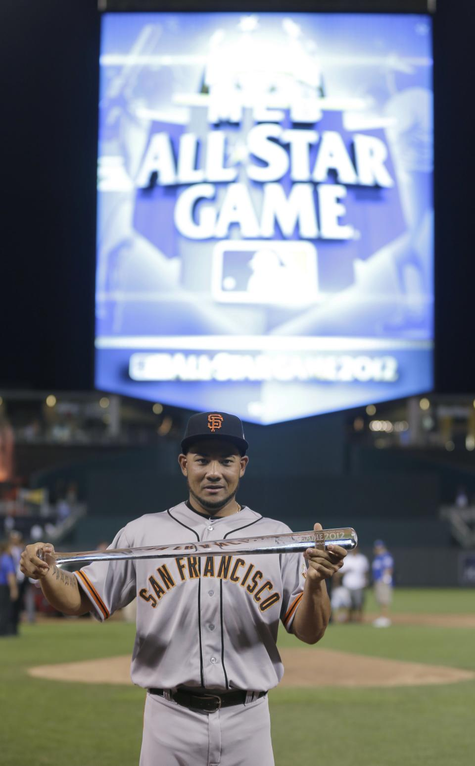 National League's Melky Cabrera, of the San Francisco Giants, shows off his MVP trophy after the MLB All-Star baseball game Tuesday, July 10, 2012, in Kansas City, Mo. The National League defeated the American League 8-0. (AP Photo/Charlie Riedel)