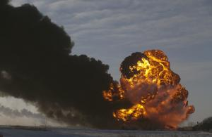 Fiery derailment in North Dakota