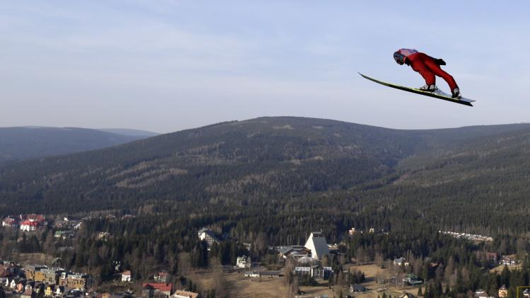 Stoch of Poland soars through the air during the trial jump of the Ski Flying World Championship in Harrachov