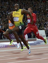 Jamaica&#39;s Usain Bolt wins the men&#39;s 100m final at the athletics event during the London 2012 Olympic Games in London