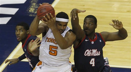 Mississippi beats Tennessee 77-72 in OT