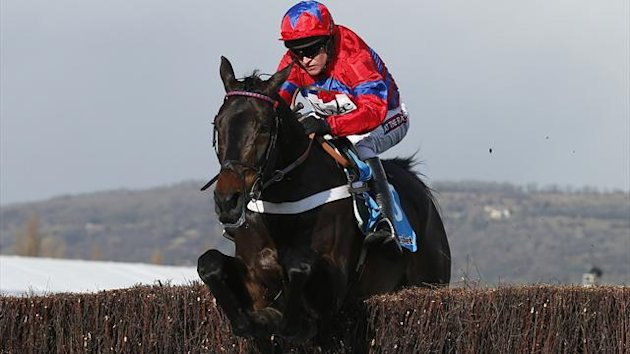Sprinter Sacre jumps the final fence on his way to winning the Queen Mother Champion Chase at the Cheltenham Festival (Reuters)