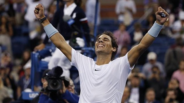 Rafael Nadal of Spain celebrates after defeating Richard Gasquet of France in their men's semi-final match at the U.S. Open (Reuters)