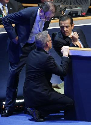 Los Angeles Mayor and Democratic Convention Chairman Antonio Villaraigosa talks with associates during the Democratic National Convention in Charlotte, N.C., on Tuesday, Sept. 4, 2012. (AP Photo/Carolyn Kaster)