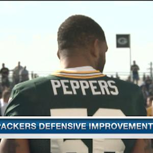 How is Green Bay Packers defensive end Julius Peppers fitting in at Packers training camp?