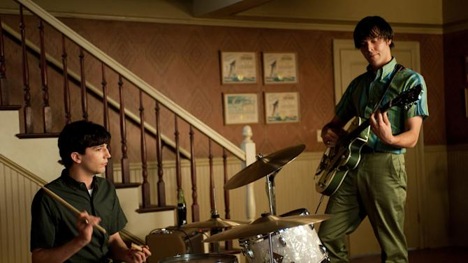 """In this film image released by Paramount Vantage shows John Magaro as Douglas, left, and Jack Huston as Eugene and Will Brill as Wells in a scene from """"Not Fade Away."""" (AP Photo/Paramount Vantage)"""